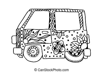 Hippie vintage car a mini van in zentangle style for adult...