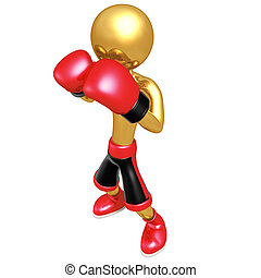 Gold Guy Boxer - 3D Cartoon Boxing Concept And Presentation...