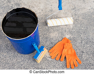 Tools for waterproofing. Mittens, roller, ceiling brushes...
