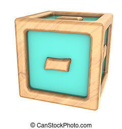 cube minus - 3d illustration of toy cube with sign '-' on it