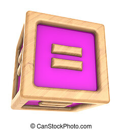cube equal - 3d illustration of toy cube with sign '=' on it