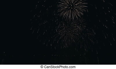 Beautiful fireworks under the river on background of black sky.