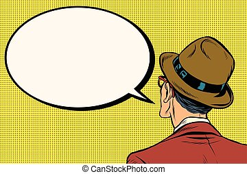Retro man stands and says the comic bubble, pop art vector...