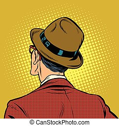 Male viewer stands back, pop art vector illustration. Man in...