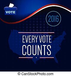 Digital vector usa election with vote box