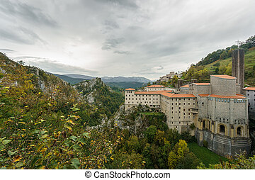 Ancient Sanctuary of Arantzazu, cloudy day - Wide angle view...