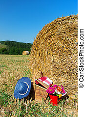 Picnic basket and summer hat in agriculture landscape -...