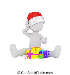 geschenke zu weihnachten 3d modell sitzt vor geschenken