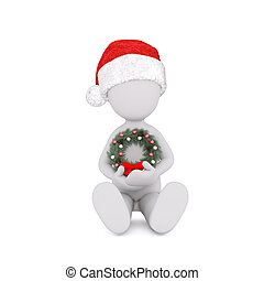 3d model hold a chaplet in front of himself for christmas...