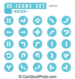 icons arrow color thin white in the circle blue on white background