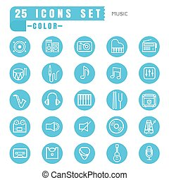 icons music color thin white in the circle blue on white background
