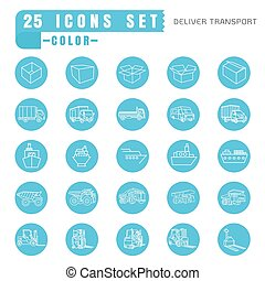 icons  Deliver transport  color thin white in the circle blue on white background