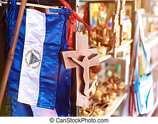 souvenir shop in nicaragua - close up of flag in souvenir...
