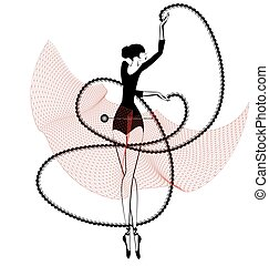 black red ballet girl and pin - white background and dancing...