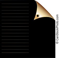 black paper with gold corner - white background, sheet of...