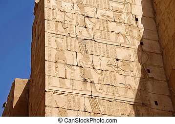 Illustrated walls Egyptian temple - Illustrated walls of...