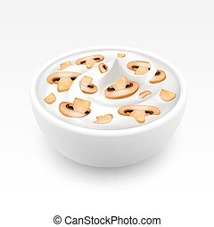 Bowl of Sour Cream Sauce Mayonnaise with Sliced Mushrooms Champignons Close up Isolated on White Background