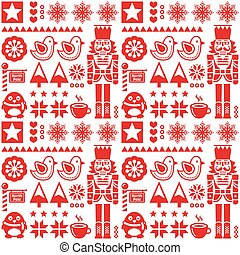Christmas pattern with nutcracker - Retro style red Xmas or...
