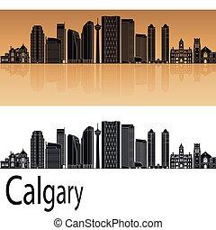 Calgary V2 skyline in orange background in editable vector...