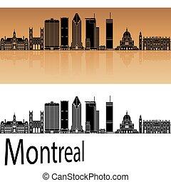 Montreal V2 skyline in orange background in editable vector...
