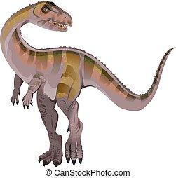 Carnivorous dinosaur Allosaurus. Isolated on white vector...