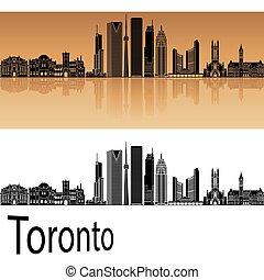 Toronto V2 skyline in orange background in editable vector...