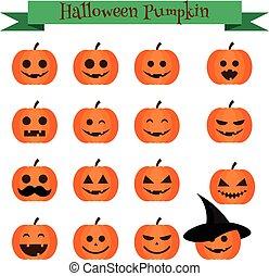 Cute halloween pumpkin emoji icons set. Emoticons, stickers, design elemets