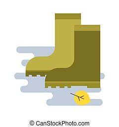 rubber boots icon in flat style isolated on white...