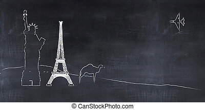 blackboard with drawings, tourism concept - 3D illustration...