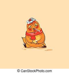 Emoji character cartoon Hen sick