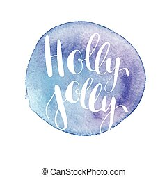 Greeting Christmas card with hand-drawn typography lettering...