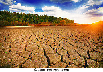 Land with dry and cracked ground. Climate change, dry lake