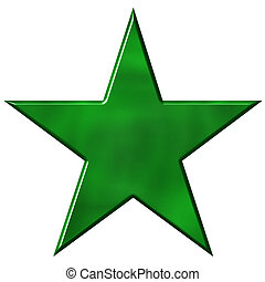 3D Green Star - 3d green star isolated in white