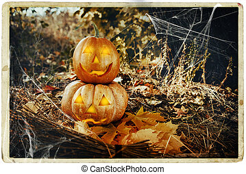 Grinning pumpkin lantern or jack-o-lantern is one of the...
