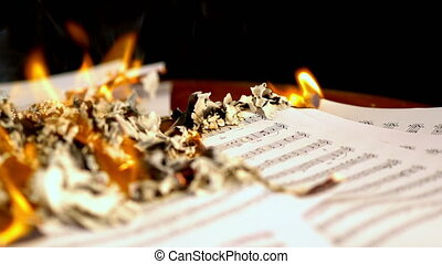 Sheet music are burning on background of girl playing violin...