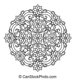 contour, Mandala. ethnic, religious design element with a...