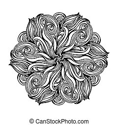 contour, Mandala. religious design element. tattoo. vector...