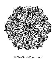 contour, Mandala. religious design element. tattoo. vector...
