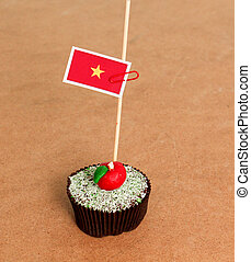 vietnam flag on a apple cupcake,picture of a