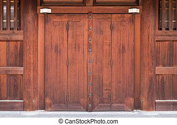 portail, bois, vieux