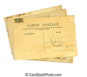 Vintage post cards. Isolated on white background