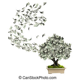 Money tree with dollar banknotes. Isolated on white...