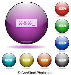 Typing password glass sphere buttons