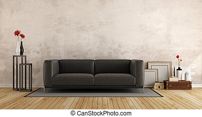 Modern sofa in a old room