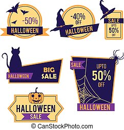 Halloween sale stickers and labels