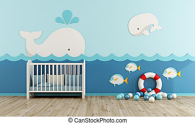 Baby room in marine style with cradle - 3d rendering