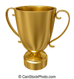 Gold trophy cup against a white background - Gold trophy cup...