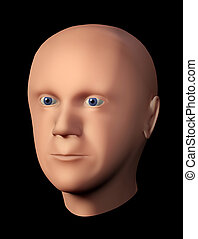 3D rendering of a male head without hair against black...
