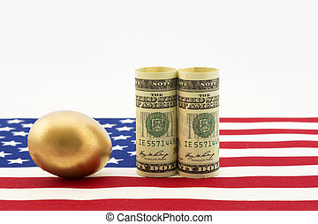 American investments grow a nest eg - Gold nest egg with...