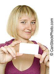 Woman with a business card